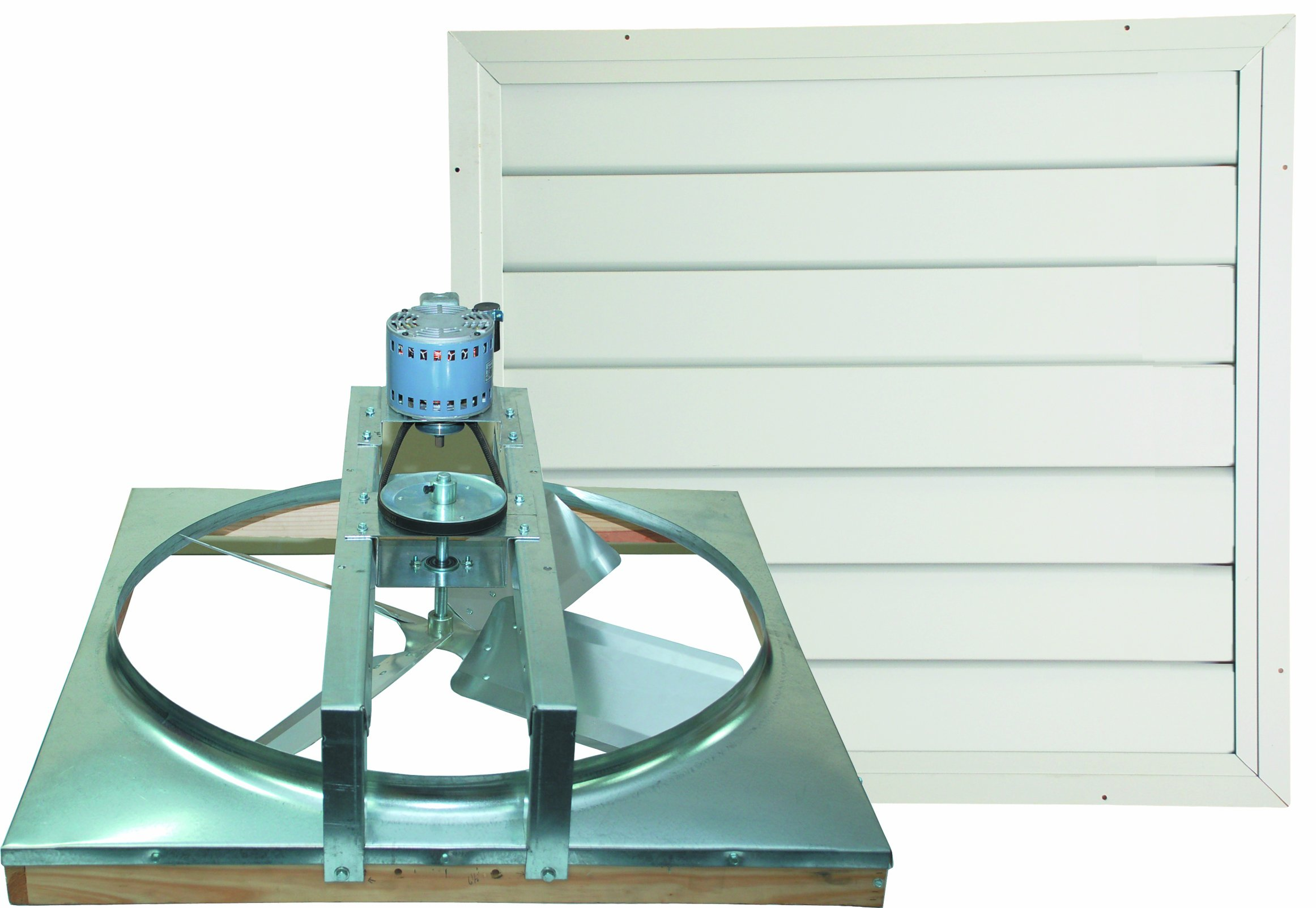 Cool Attic CX24BDM-2SPD Belt Drive 2-Speed Whole House Fan with Shutter, 24-Inch, White by Cool Attic (Image #1)