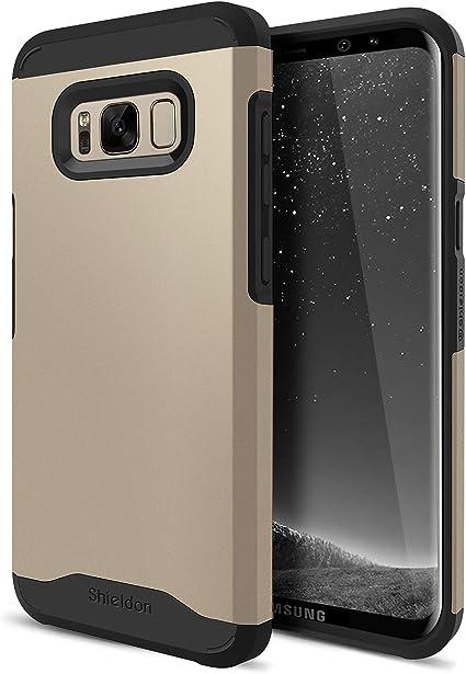 SHIELDON Coque Galaxy S8, Coque Double Couche de Protection TPU et PC Bi-Matière Anti-Choc, Chargeur Induction Compatible, Résistant aux Rayures ...