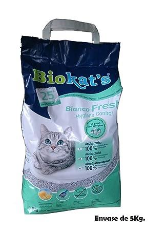 Biokats Arena perfumada lecho gatos 5Kg bianco Fresh Hygiene Control absorbente