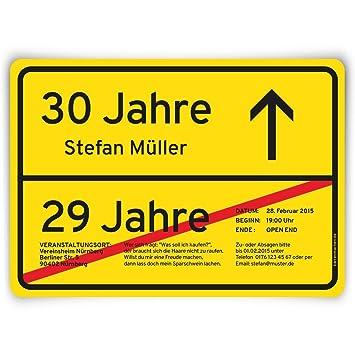 Schön Einladungskarten Zum Geburtstag (50 Stück) Als Ortsschild Ortstafel Schild  Straßenschild