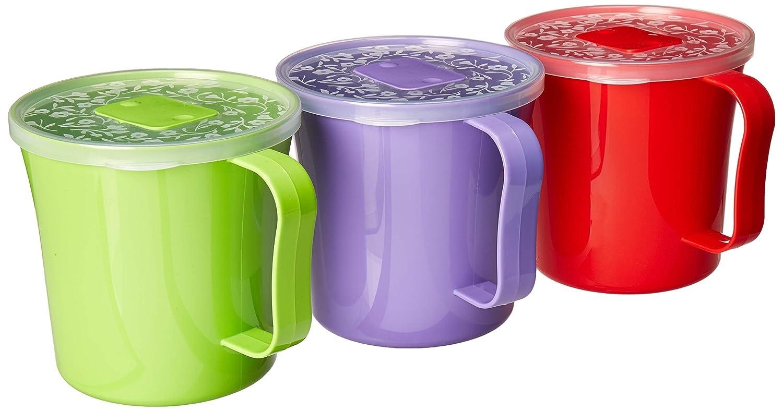Taza de sopa con tapa ventilada y asa | taza de plástico para ...