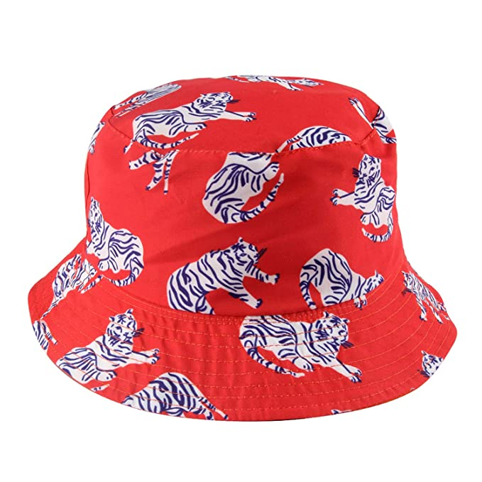 fec3af202db 2019 Summer Reversible Orange Tiger Bucket Hats Gorro Pescador Fisherman  Caps at Amazon Women s Clothing store