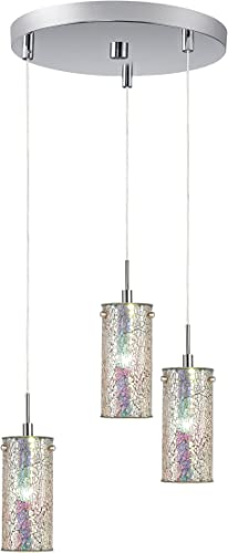 Woodbridge Lighting 13424STN-M10IRI 3-Light 3-Port Mini Pendant Cluster, 10-Inch by 84-Inch Maximum, Satin Nickel