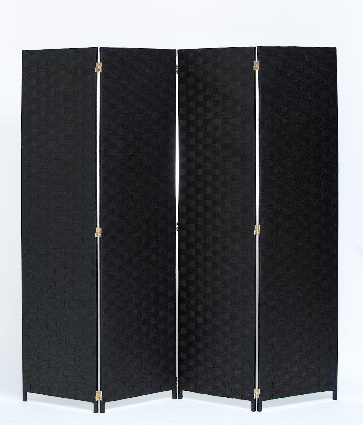 Room Divider 4 Panel Weave Design Paper Fiber Black Color By Legacy Decor
