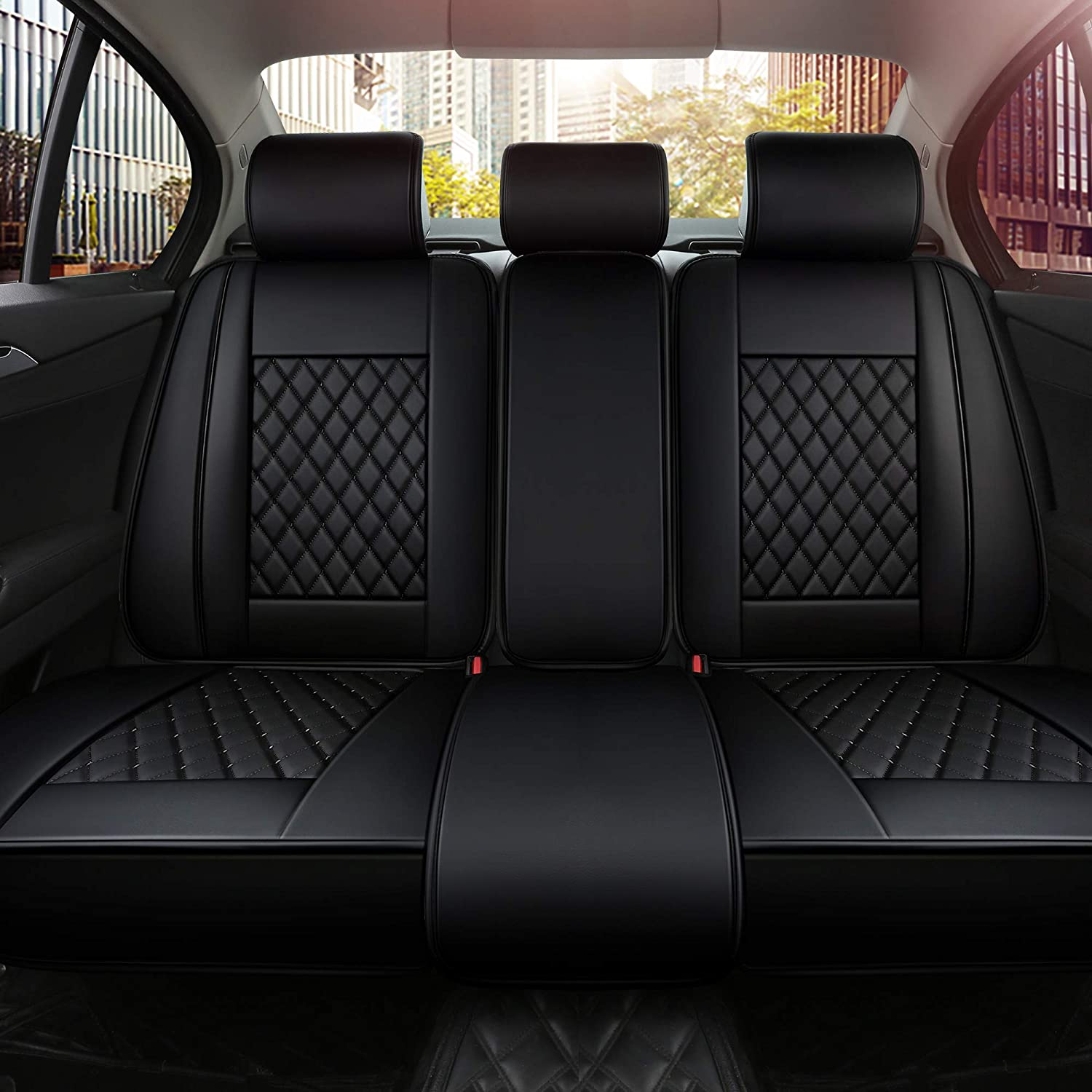 INCH EMPIRE Only Rear/Back Seats Car Seat Cover PU Leather- Anti-Slip Suede Backing Universal Fit Car Seat Cushion for Both Fabric and Leather Seats(Rear Black Grid)
