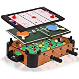 Point Games 3 in 1 Small Multi Game Set, Foosball, Air Hockey, Table Tennis - Portable Mini Arcade Table for Easy Carry - Per