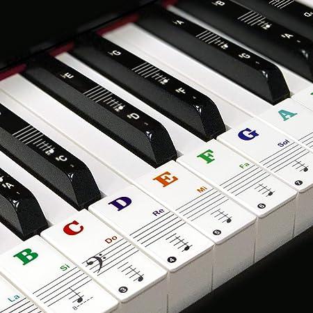 Pegatinas para teclado de 49/54/61/88 teclas, pegatinas para teclas negras, blancas y mayúsculas de colores, transparentes y extraíbles