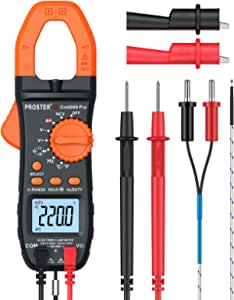 Proster Clamp Meter 6000 Counts Auto-ranging Multimeter, TRMS NCV , AC/DC Voltage & Current Tester with Resistance, Capacitance, Frequency, Temperature, Diode, Hz Test, Continuity Test