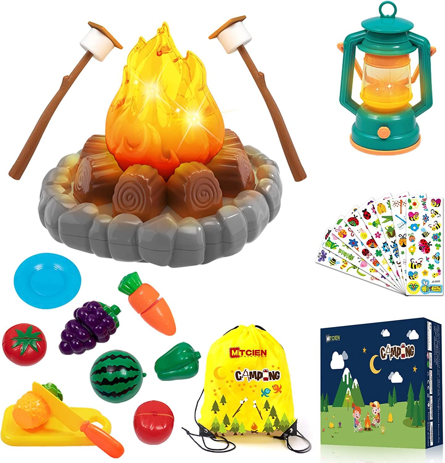 MITCIEN Pretend Camping Toy Play Set,Campfire,S'Mores,Oil Lantern,Fruits Sliced,Indoor Outdoor Toys for Ages 2,3,4,5,Ideal Gifts for Kids