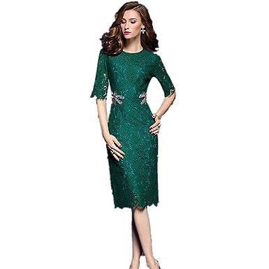 f6af1d69c SONGQINGCHENG Última Moda Mujer Verano Dragonfly Cordón Pista Encaje Vestido  De Lujo De Alta Calidad Vestidos Elegantes
