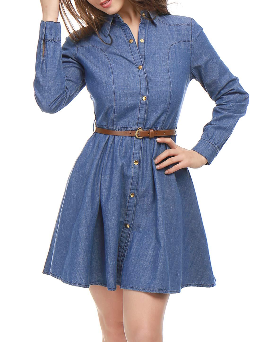 f07fed73ec5 Allegra K Women s Long Sleeves Belted Flared Above Knee Denim Shirt Dress