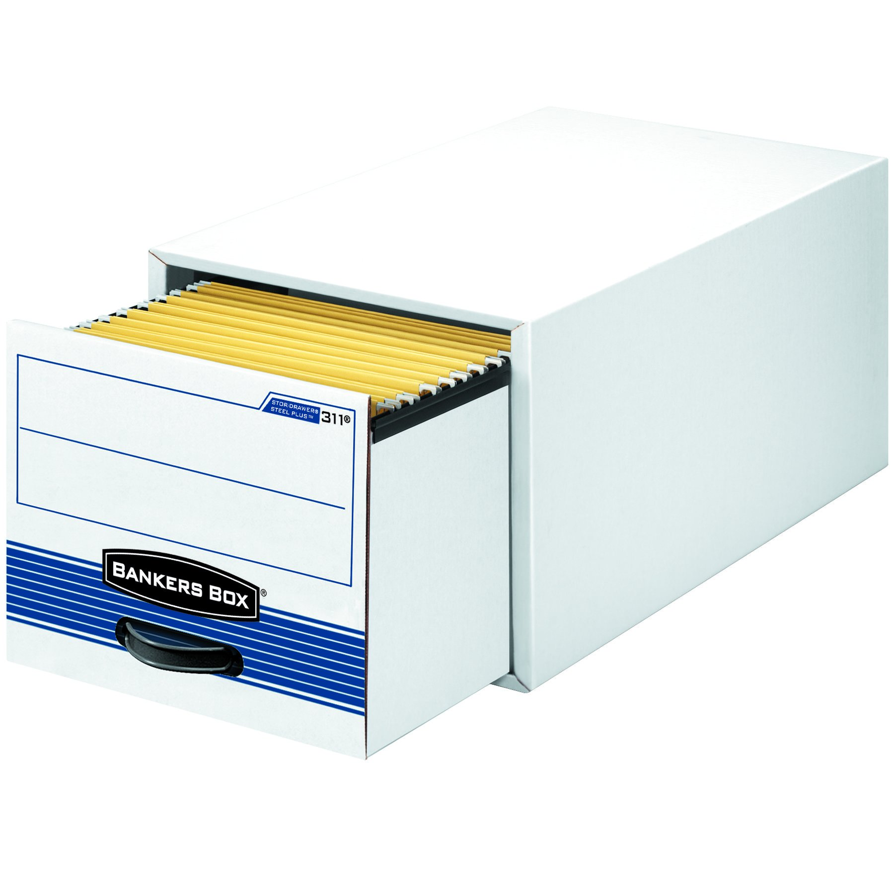 Bankers Box 00312 STOR/DRAWER Steel Plus Storage Box, Legal, White/Blue (Case of 6)