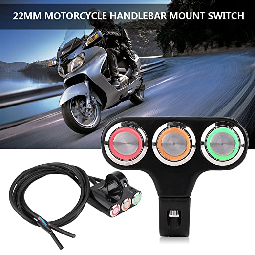 Model B: ON/OFF Button with Blue Light Durable Motorcycle Switch For Motorbike Fog Lamp Head Light Electrical System 22mm Motorcycle Handlebar Mount Switch