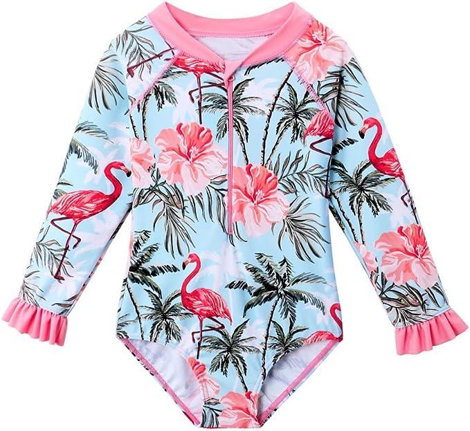 Kids Girls Floral Swimsuit Swimwear Bathing Suit Rash Guard Zipper Beach Suit