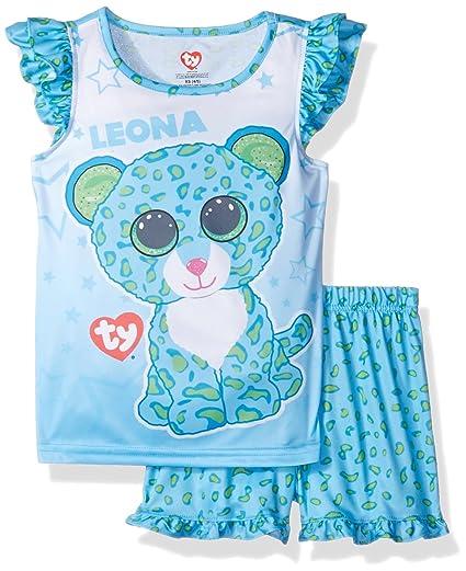 6fccbafe9a8 TY Beanie Boo Girls  Little Leona The Leopard Beanie Boo Ruffle Pajama  Short Set