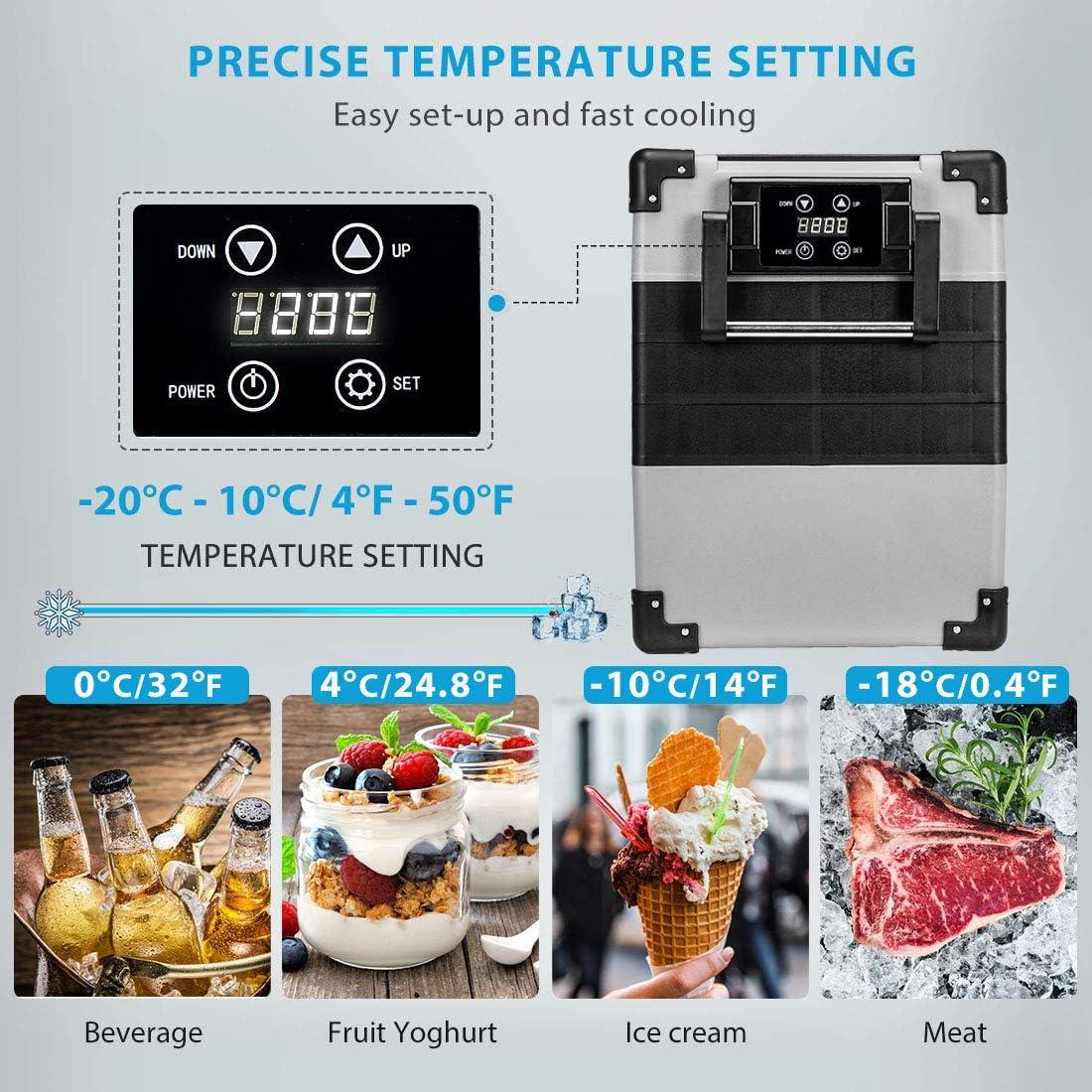 4-50/°F Compact Compressor RV Refrigerator with Basket and Insulated Bag for Home Office Camping Travel VIVOHOME 45 Quart DC 12//24V Portable Electric Freezer Cooler