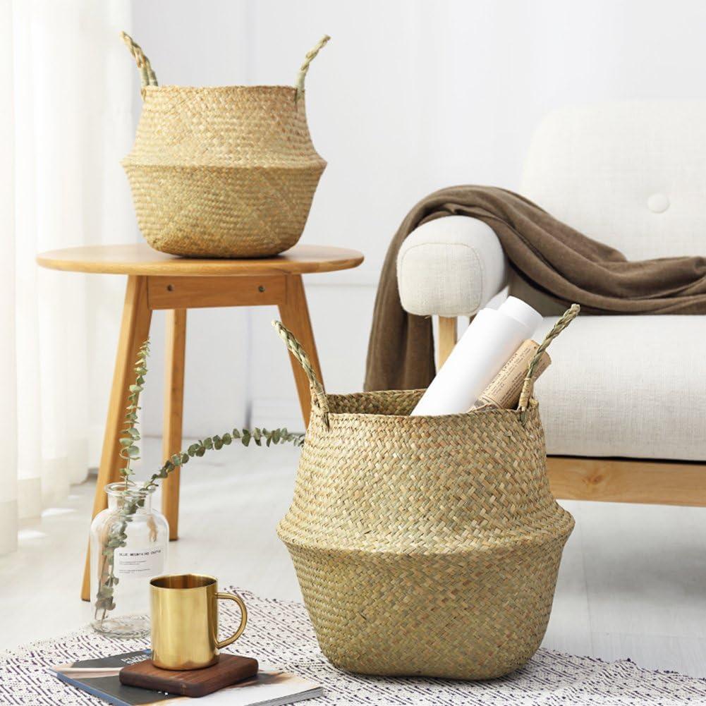 blanc /à linge Small cache-pot de fleurs pique-nique sac de plage en paille naturelle tress/ée /à la main Panier polyvalent de rangement