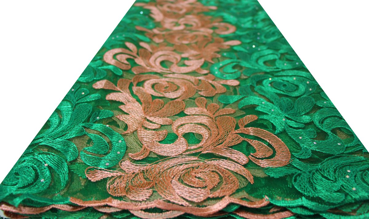 pqdaysun African Lace Fabric 5 yards 2019 Nigerian Lace French Lace Fabric Embroidered and Rhinestones Guipure Cord Lace(green and beige) by pqdaysun (Image #4)