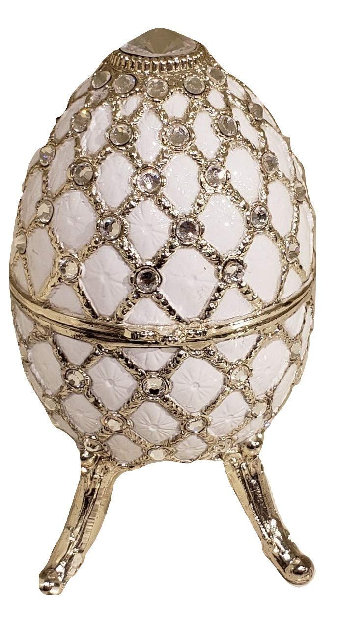 Pearly White Egg Shaped Musical Jewelry Box with Crystallized Swarovski Elements playing Canon by Pachelbel