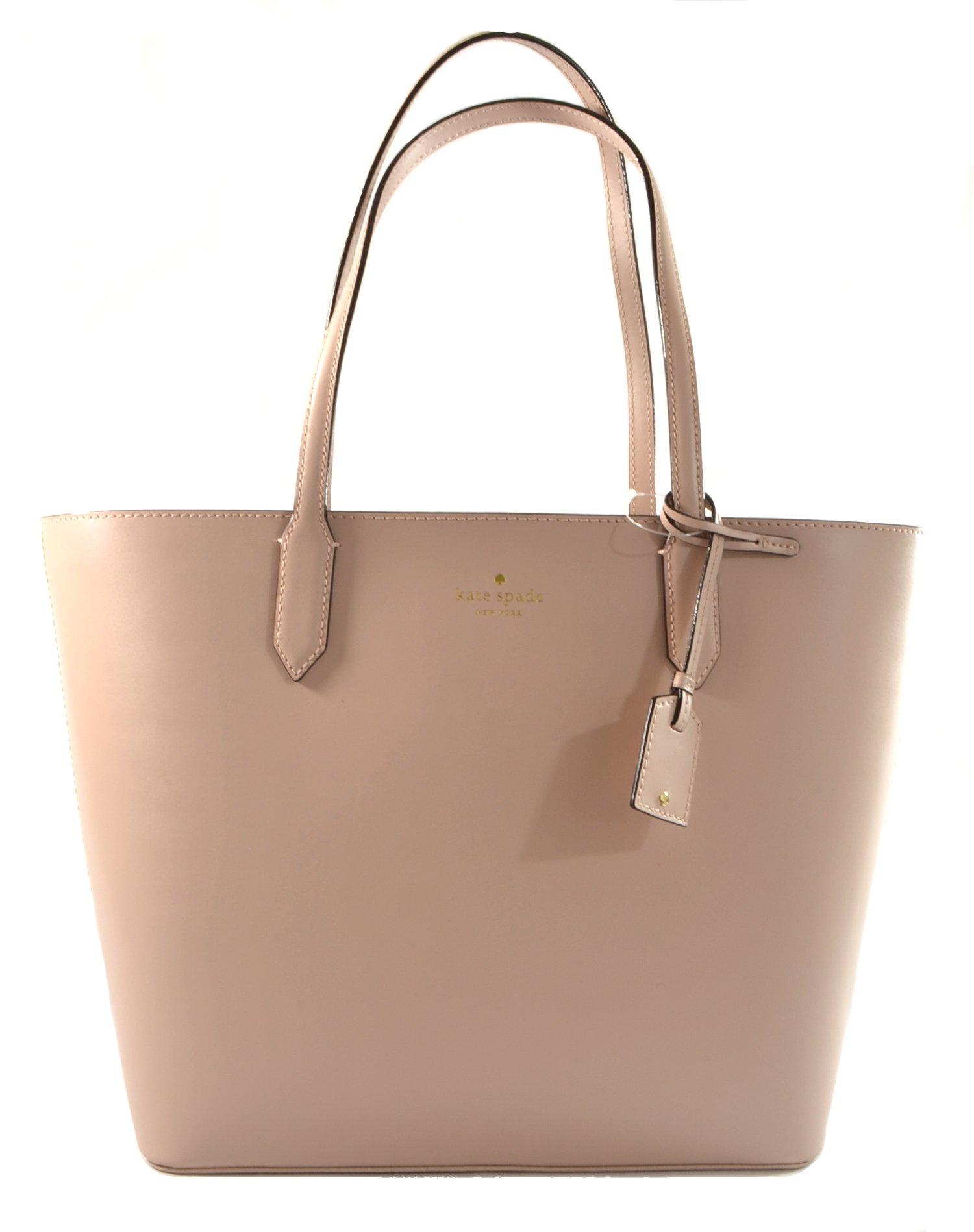 Kate Spade Lucia Bell Street Leather Tote Shoulder Bag Purse Handbag, Rose Cloud