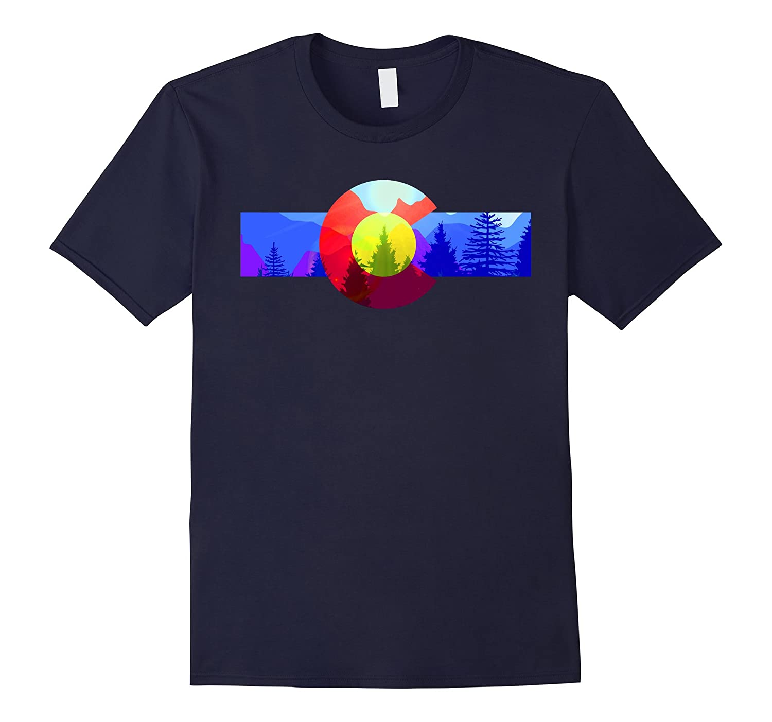 Colorado State Flag Mountains Forest Colorful version MCMA-BN