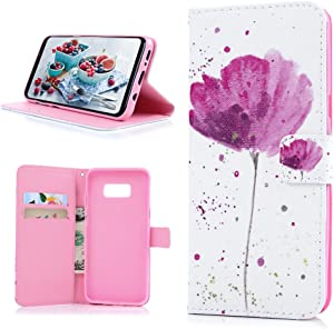 Galaxy S8 Plus Case, YOKIRIN Dual Layer Card Slot Premium PU Leather Wallet Case Printed 3D Pink Flower Anti-Scratch Non Slip Wrist Strap Flip Full Protective Stand Cover for Samsung Galaxy S8 Plus