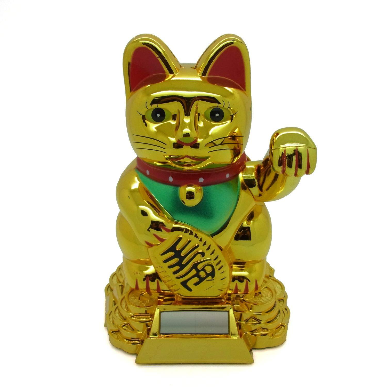 Gato de la suerte Starlet24, gato que saluda, gato Feng Shui, Maneki Neko, plástico, Weiss, 13 cm