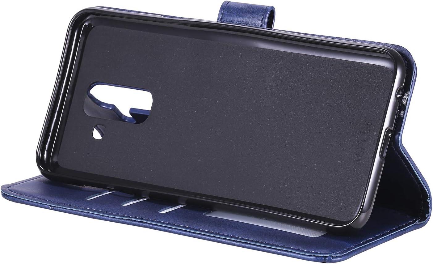 H/ülle Leder Case mit Standfunktion Magnetverschluss Flipcase Klapph/ülle kompatibel mit Samsung Galaxy A6+ 2018 Docrax Galaxy A6+ DOHHA150441 Blau Handyh/ülle A6 Plus