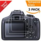 Canon EOS Rebel T6 T5 1300D 1200D Screen Protector, 3 Packs Kimilar Waterproof [Clear Touch] 9H Tempered Glass Screen Protection for Canon EOS Rebel T6 T5 1300D 1200D DSLR Camera