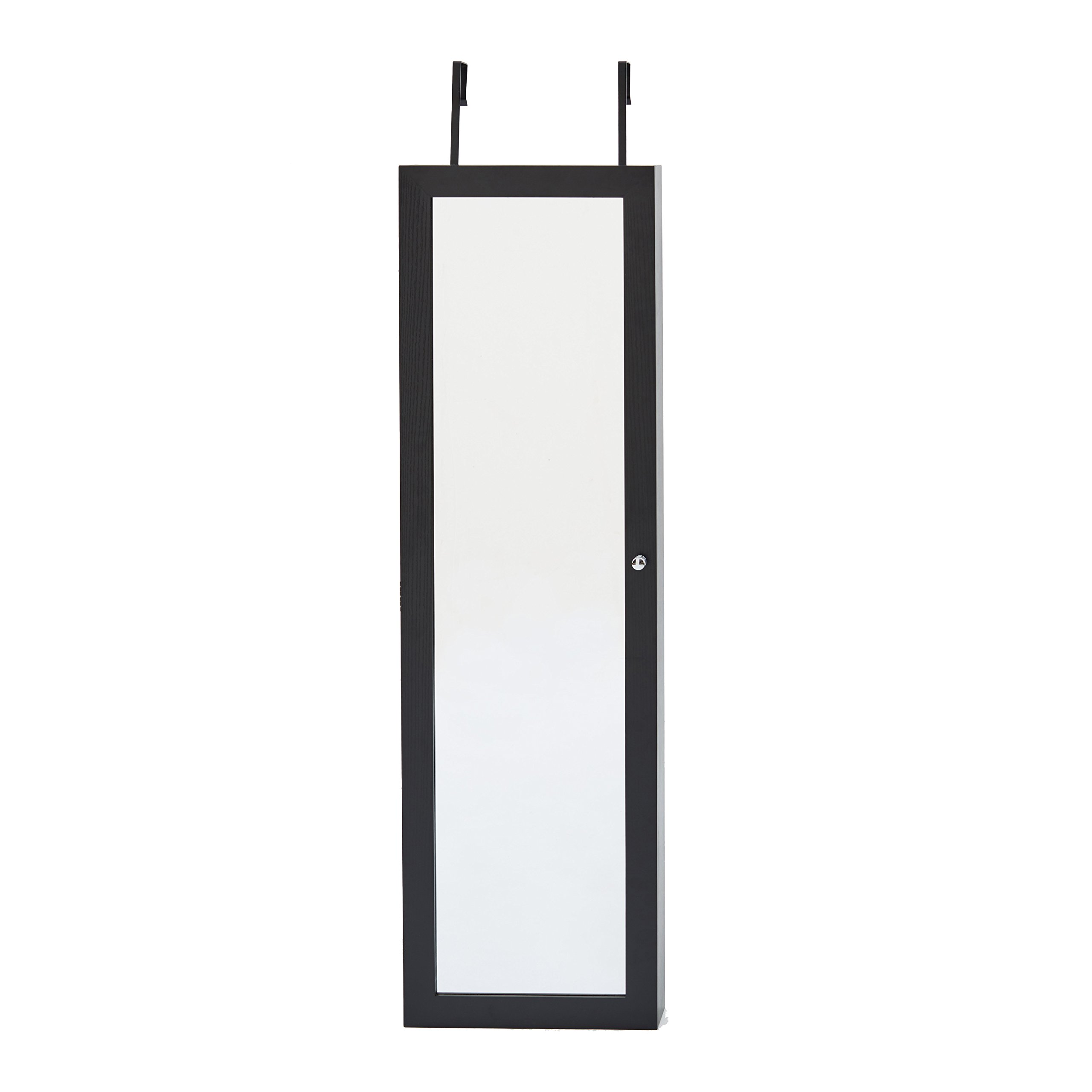InnerSpace Luxury Products Mirrored Jewelry Armoire, Black