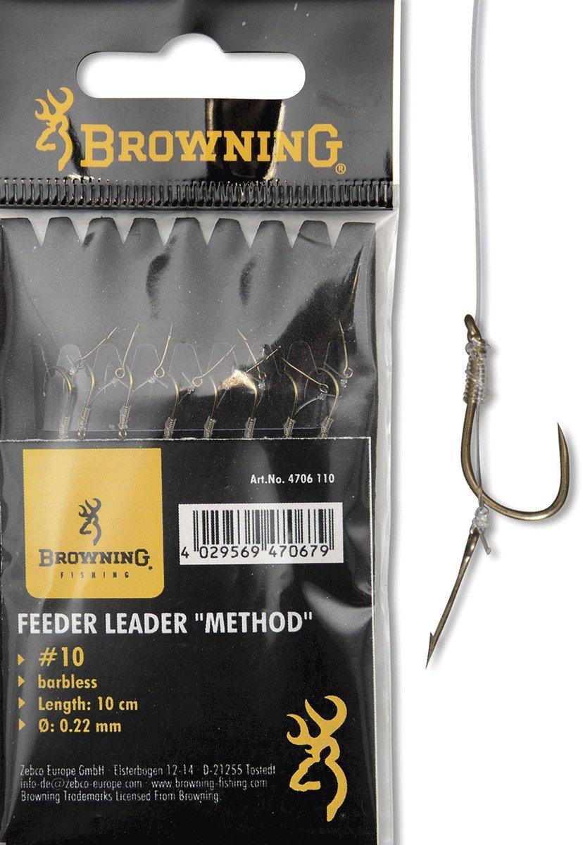 Browning #10 Feeder Method Vorfachhaken mit Boilie-Nadel Bronze 10lbs,4,5kg /Ø0,22mm 10cm 8St/ück,