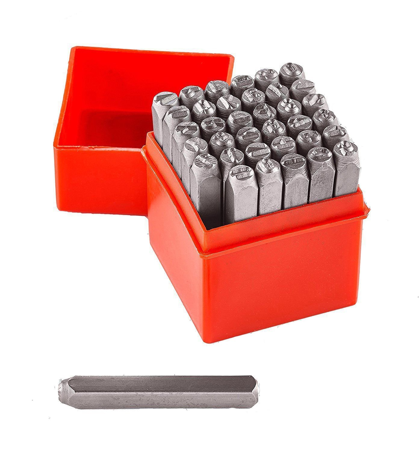 ESKALEX>>1/4'' 36pc Letter Number Stamp Punch 6mm Hardened Steel Metal Wood Leather CrV And 1/4'' A-Z, 0-8 (Turn 6 Upside Down for 9) Storage Case Included Please note: case color will vary from