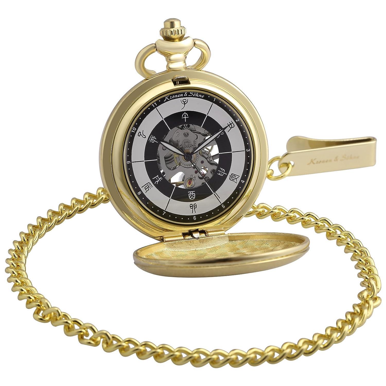 KS Reloj de Bolsillo Hombre con Cadena antiguos Steampunk Esqueleto Mecánico con Caja de Regalo KSP085: Amazon.es: Relojes