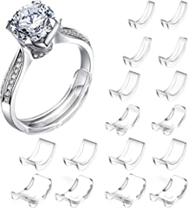 JOUAUS [16 Packs] Ring Size Adjuster Invisible Ring Size Adjuster for Loose Rings Ring Adjuster Size Fit Any Rings Ring Guard Spacer (8 Sizes)