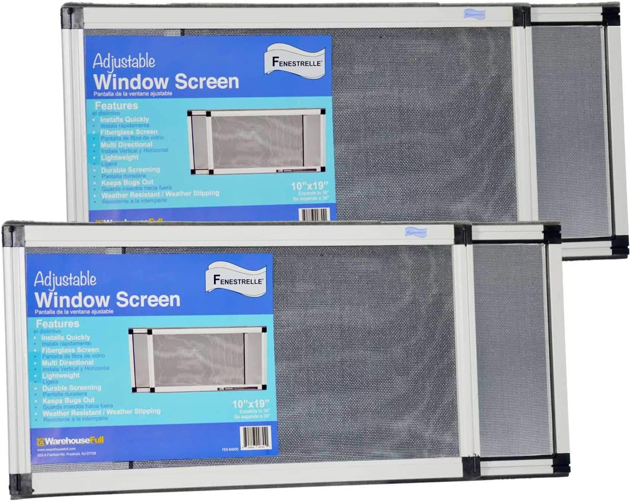 "Fenestrelle Adjustable Window Screen, 2 Way Adjustable, Horizontal (10"" fits 19-36""w) or Convert to Vertical (19"" fits 10-18""w) - 2 Pack"