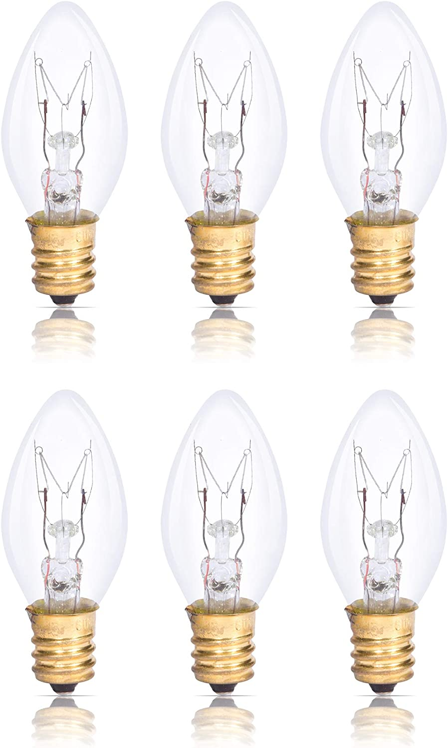 Simba Lighting C7 15W Replacement Bulb (6 Pack) for Himalayan Salt Rock and Basket, Plug in Scentsy Wax Warmer, Night Light, Clear Candle Shape, 120V, E12 Candelabra Base, Dimmable, 2700K Warm White