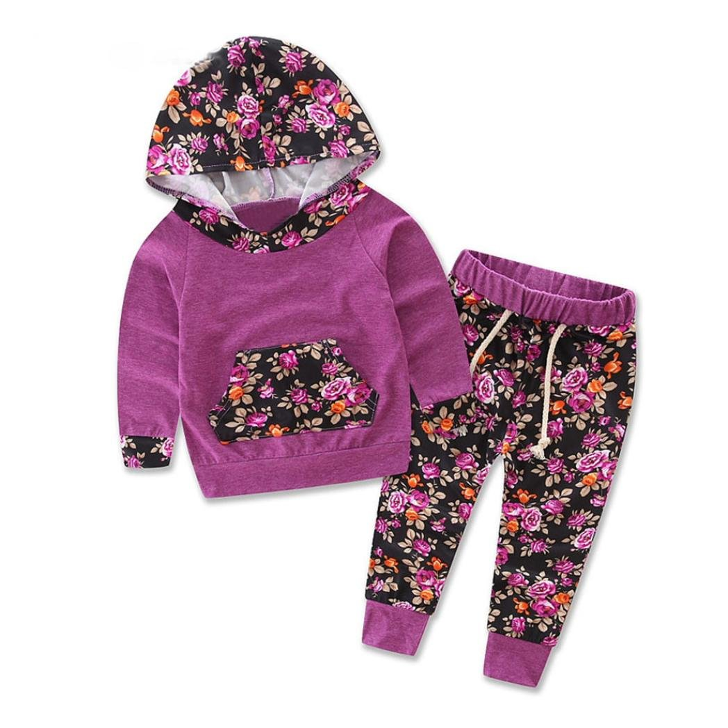 Bestow Navidad Floral Impresión Chandal Top + Pantalones Trajes Conjunto (24M, Púrpura)