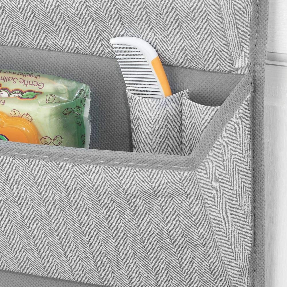 Gray Hooks Included Playroom Herringbone Print with Solid Trim mDesign Soft Fabric Over The Door Hanging Storage Organizer with 4 Large Pockets for Child//Kids Room Nursery