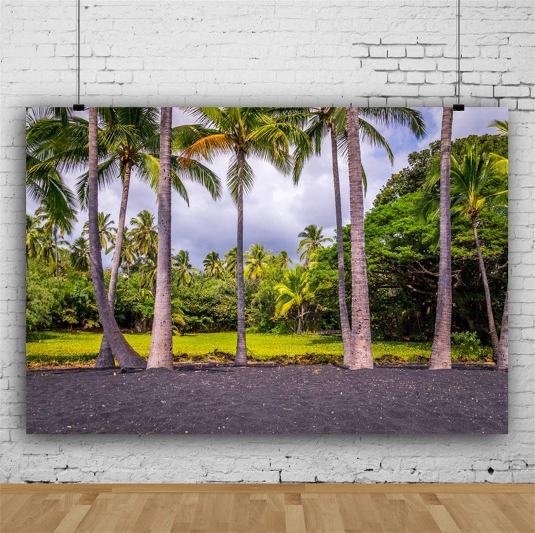 Yeele 10x8ft Spring Landscape Photography Background Grassland Palm Tree Sunset Forest Jungle Blue Sky and White Cloud Summer Party Decoration Photo Backdrop Adults Portrait