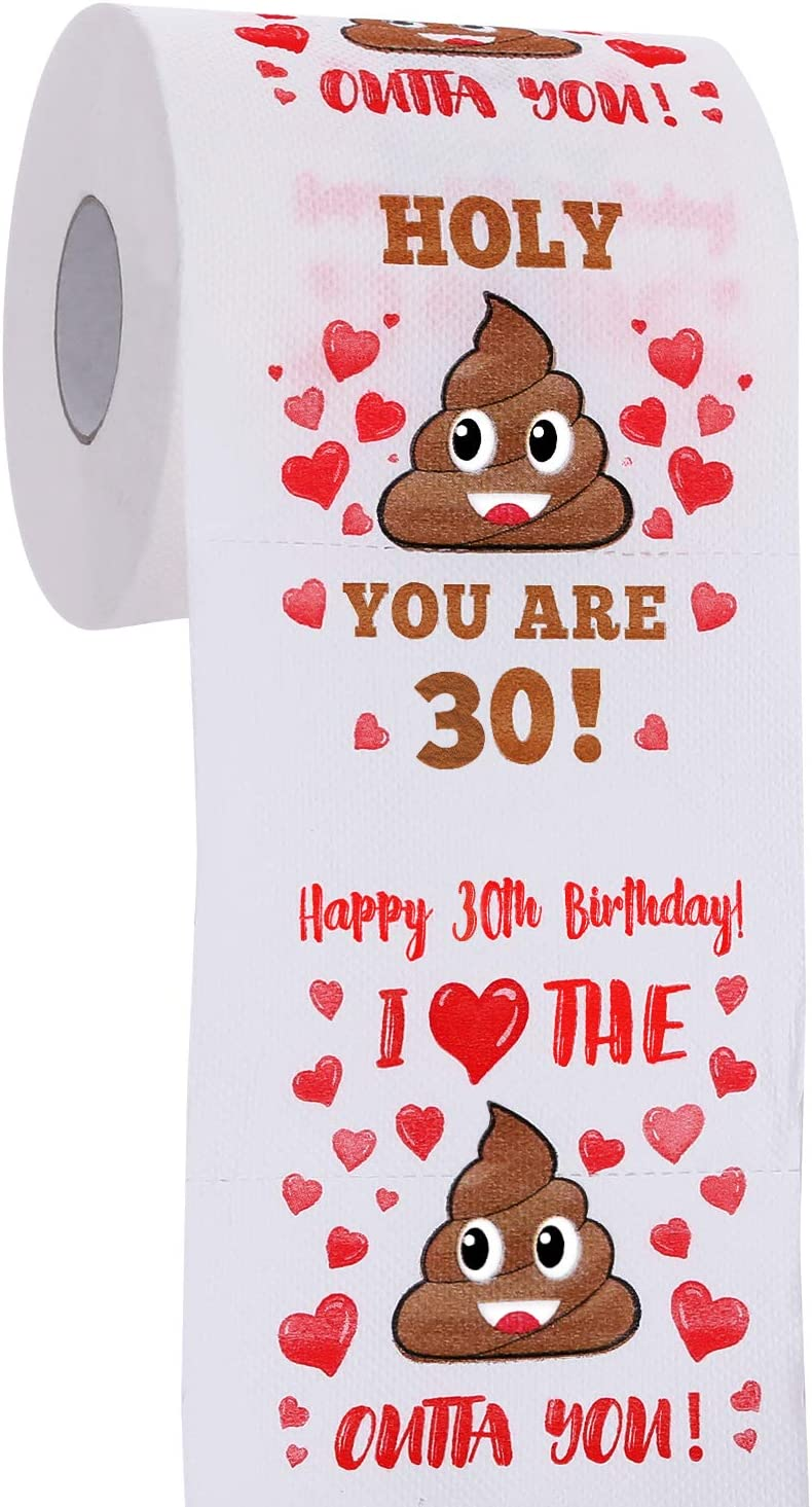 30th Birthday Gifts for Men and Women - Happy Prank Toilet Paper - 30th Birthday Decorations for Him, Her - Party Supplies Favors Ideas - Funny Gag Gifts, Novelty Bday Present for Friends, Family