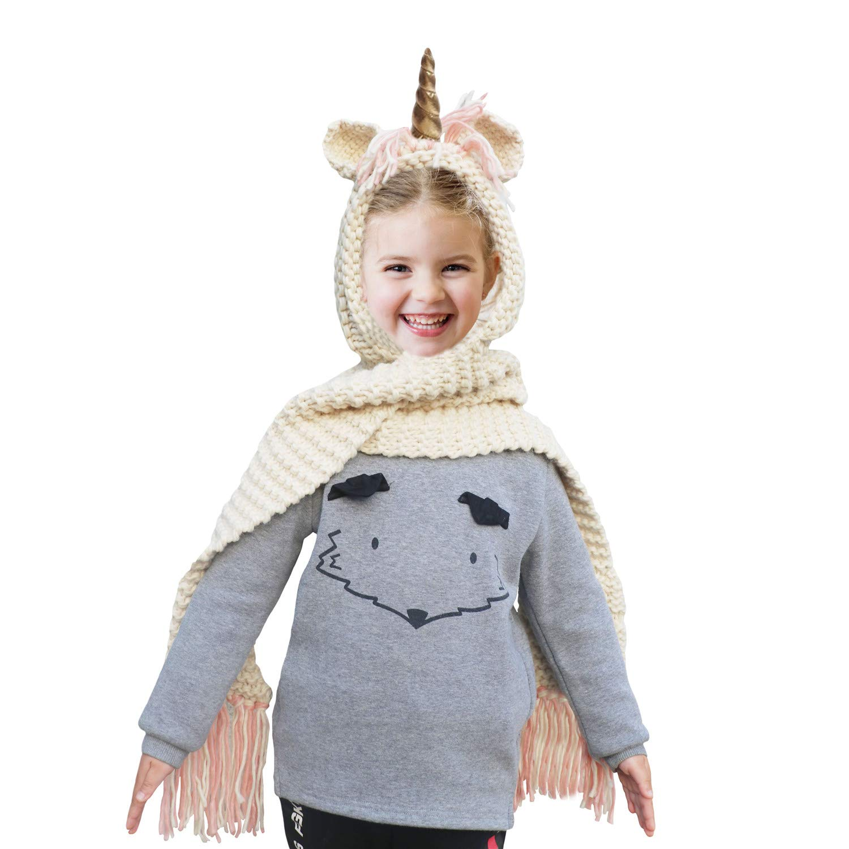 Belle Ragazzi Cartoon Unicorno Inverno Cappelli con Cappuccio Guanti Sciarpa a Maglia Cappello Beanie Cosplay Fotografia Verde