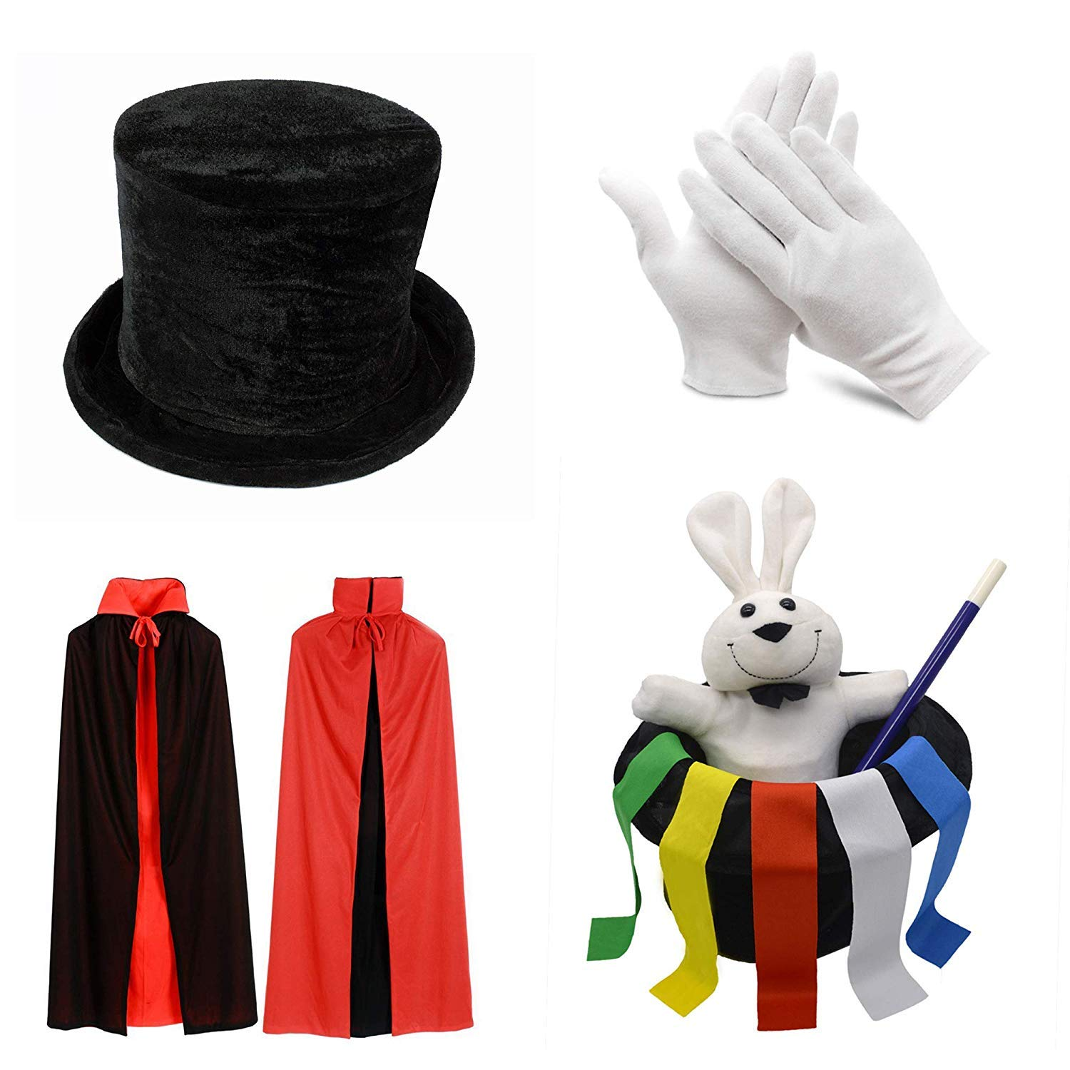 PINKYSTAR Kids Magician Role Play Set with Magic Cape Top Hat Rabbit Magic Wand Gloves and Coloring Ribbons by PINKYSTAR (Image #1)
