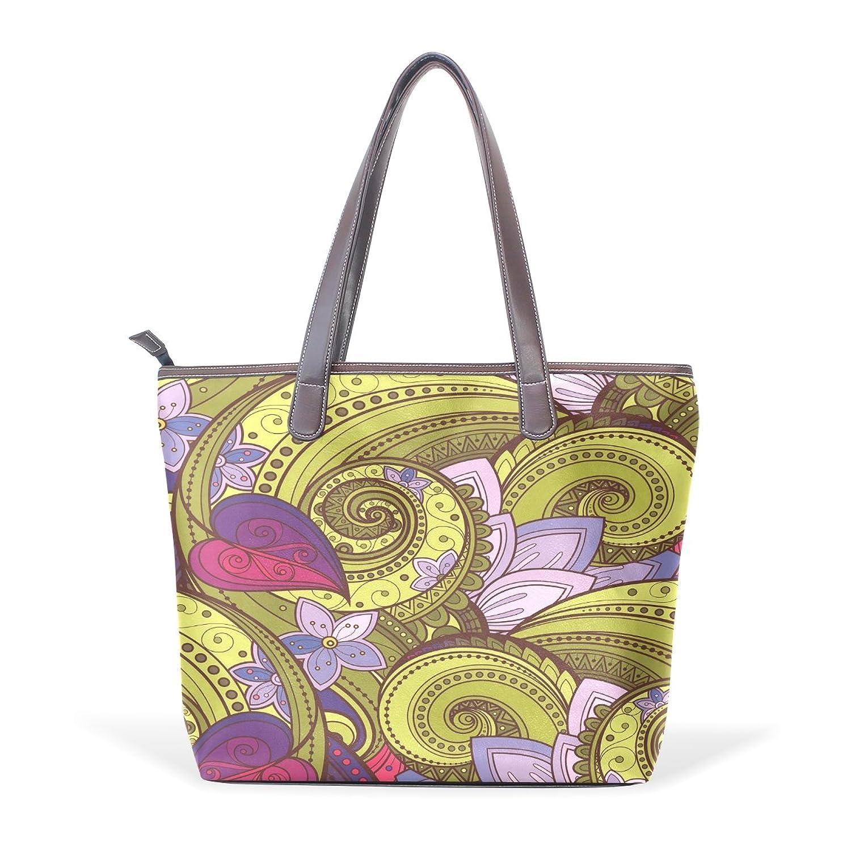 BYouLockX Golden And Purple Pattern Pattern Leather Handbags Satchel ShoulderBag for Women