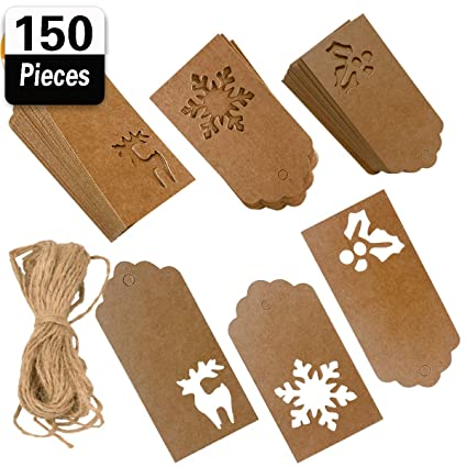 Amazon Com 150 Pieces Christmas Kraft Paper Gift Tags Hang Labels