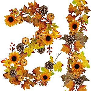 2 Pack Fall Maple Leaf Garland - 6ft/Piece Artificial Berries Sunflower Pumpkin Autumn Garland Decoration for Wedding Party Thanksgiving Dinner Fireplace Door Frame Doorway Backdrop Decor