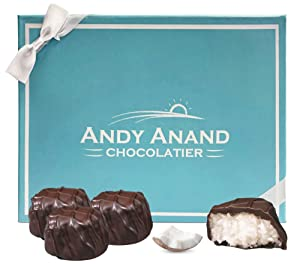 Andy Anand Belgian Dark Chocolate Chewy Coconut, Amazing-Delicious-Decadent Gift Boxed & Greeting Card, Birthday, Valentine, Christmas Gourmet Food, Mothers Fathers day, Anniversary, Wedding, Get Well