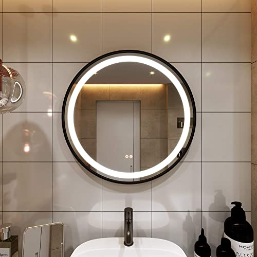 PetusHouse Update 6104 Lumen White Light 32 Inch Round LED Lighted Bathroom Mirrors, Black Frame Wall Mounted Dimmable Anti-Fog Memory Button Waterproof CRI 90 5MM Bathroom Bedroom Mirrors