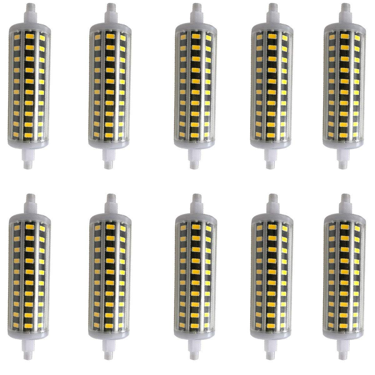 XXIONG Aoxdi 10X Dimmbar R7s LED 10 Watt 118mm, Warmweiß, SMD 5730 LED Leuchtmittel Lampe Halogen j118 Fluter Brenner Scheinwerfer Flutlicht, AC85-265V