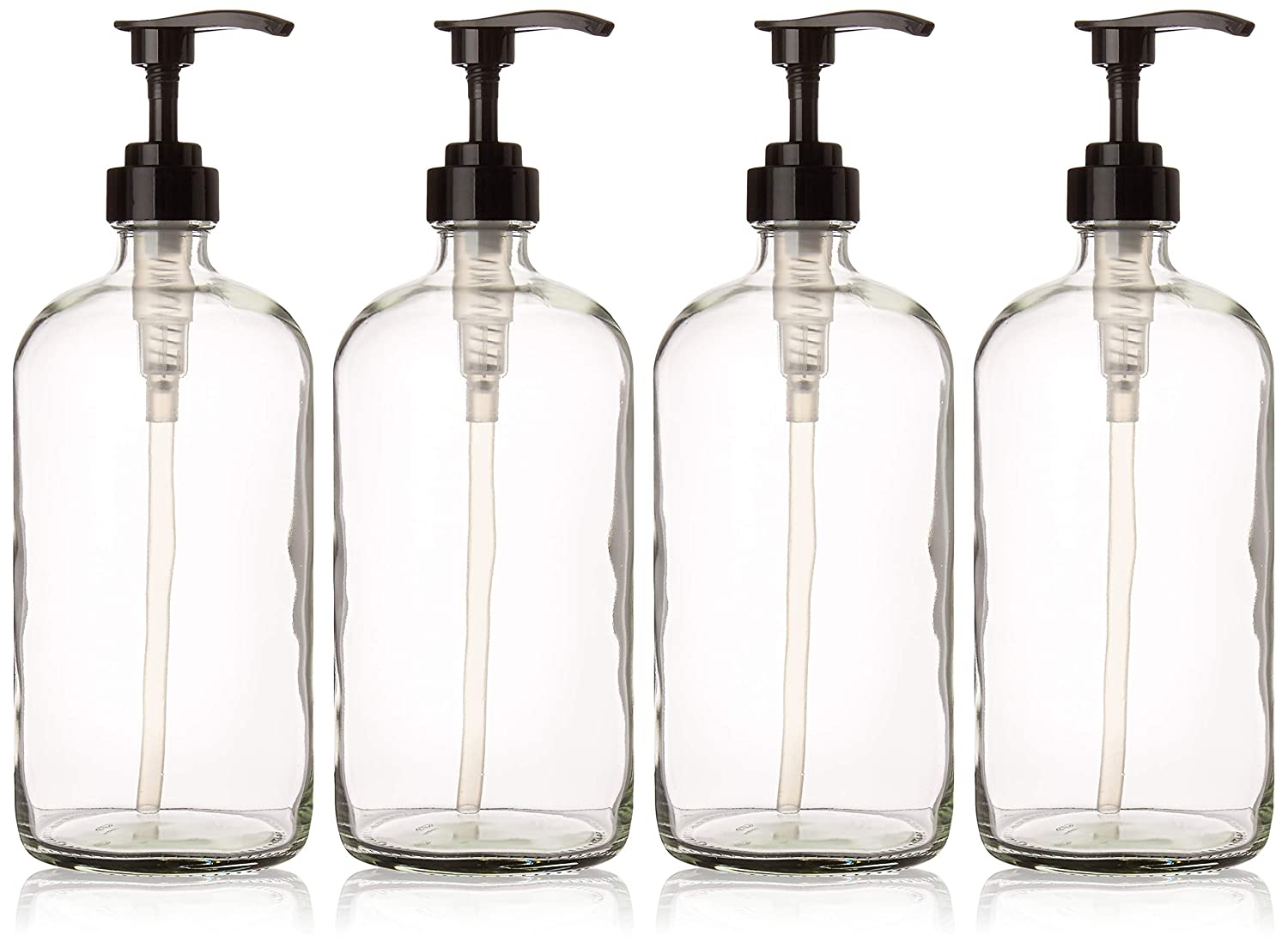 32 Ounce Large Clear Glass Boston Round Bottles with Black Pumps. Great for Lotions, Soaps, Oils, Sauces and DIY Laundry Detergent – Food Safe and Medical Grade – by kitchentoolz Pack of 4