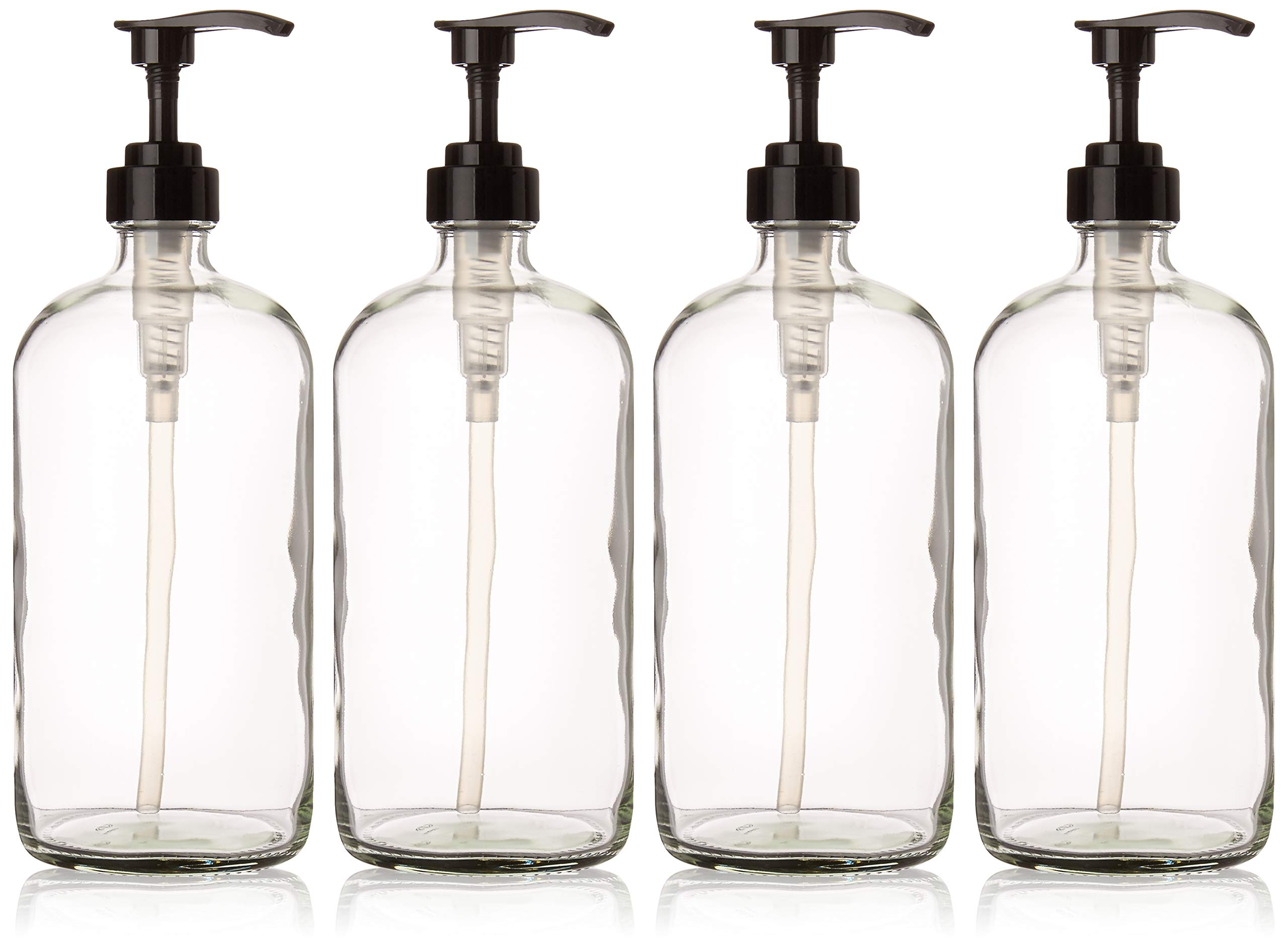 32 Ounce Large Clear Glass Boston Round Bottles with Black Pumps. Great for Lotions, Soaps, Oils, Sauces and DIY Laundry Detergent - Food Safe and Medical Grade - by kitchentoolz (Pack of 4)